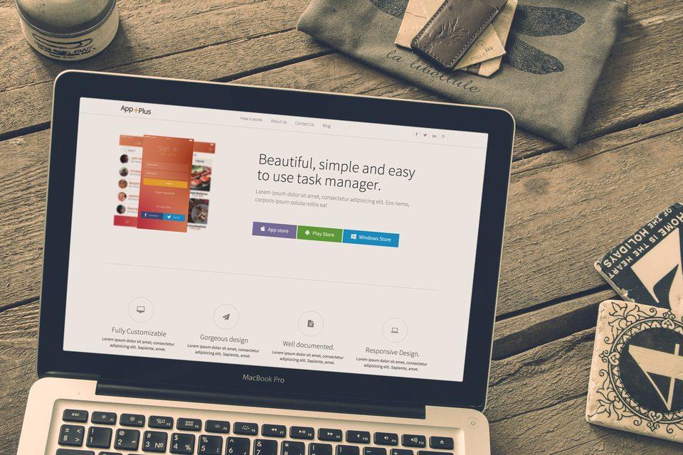 app plus onepage html5 app landing page template. Black Bedroom Furniture Sets. Home Design Ideas